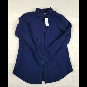 LOFT The SOFTENED Shirt Navy Blue NWT